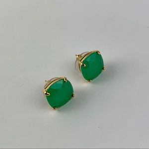 Kate Spade Green Gold Plated Square Earrings Studs
